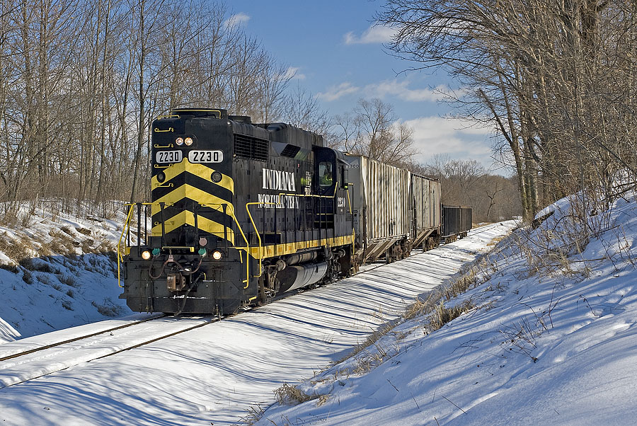 Local freight moves westbound just east of Steubenville, Indiana. (February, 2009)