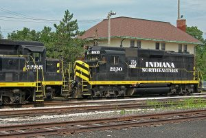 Locomotives await train service in Hillsdale