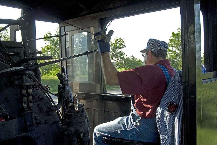 A view from the cab of 110 as Little River Railroad travels to Hillsdale for a special charter. (June, 2007)