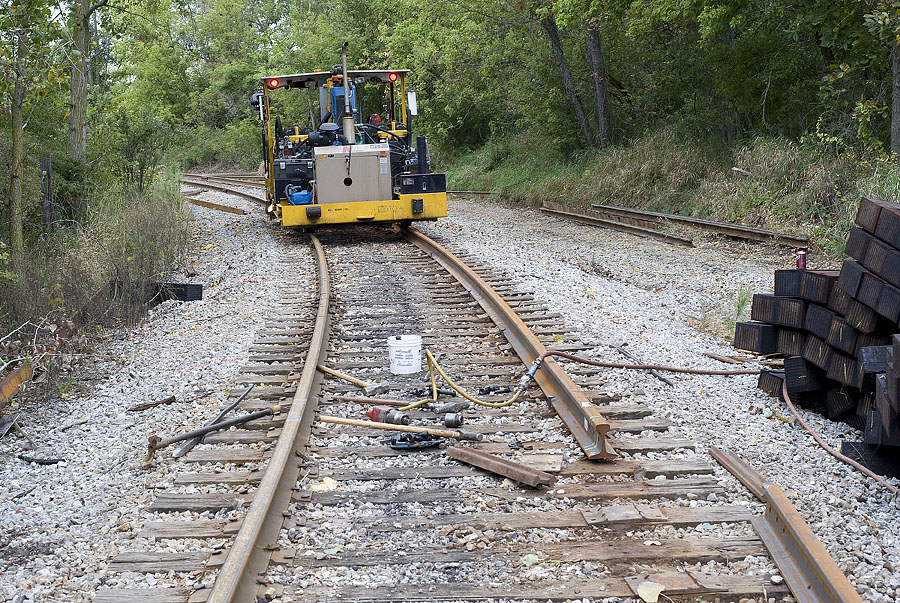 Old rail is replaced with 80ft. sections of brand new rail at Steubenville, Indiana. 1 of 3 photos. (September, 2009)