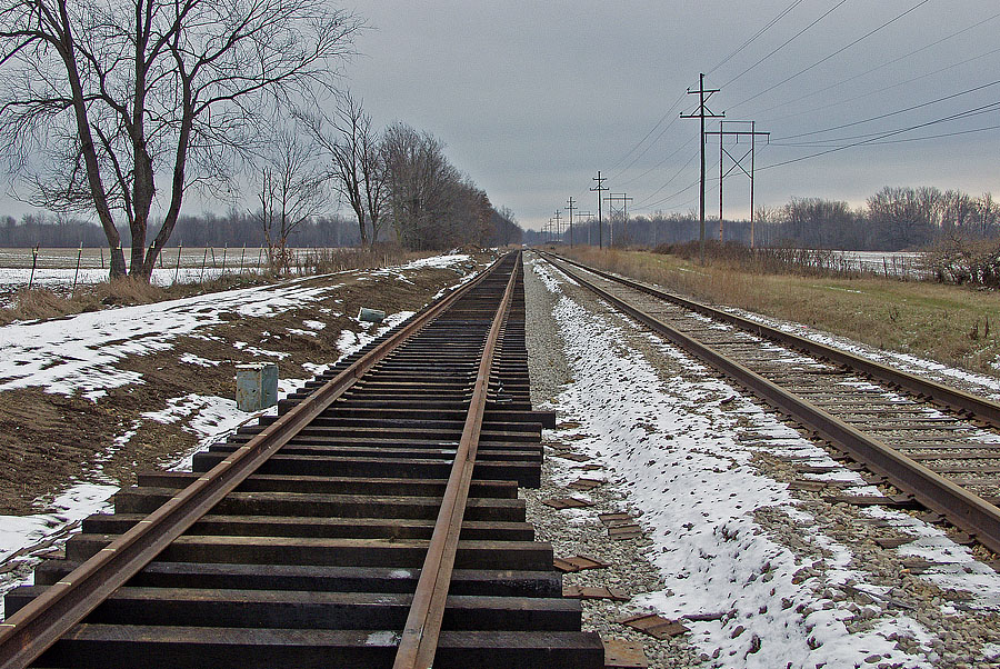 New passing track is being constructed in Litchfield. (December, 2003)