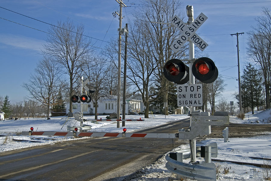 New signals in service at Michigan Street in Reading, Michigan. (December, 2006)