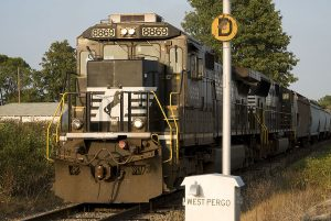 First 75-car unit grain train with NS dedicated power is seen at C.R. 8.5 near Montpelier, Ohio. (August, 2008)