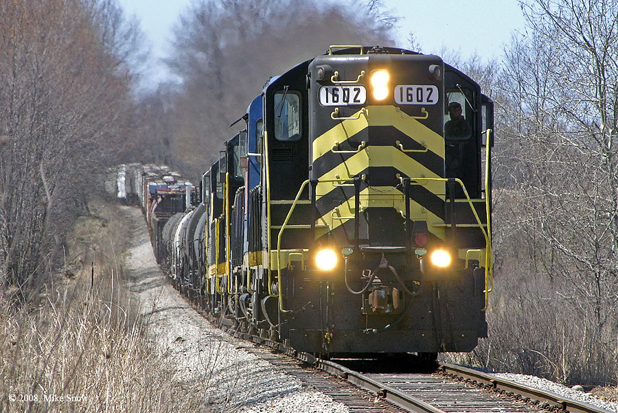 IN 1602 is on the point of a northbound train just north of the Michigan State Line. (Date Unknown)
