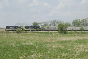 IN 2230 and IN 2185 lead southbound grain at Montgomery. (May, 2007)