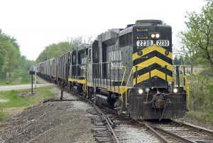 IN 2230 leads southbound loads through Ray. (May, 2007)