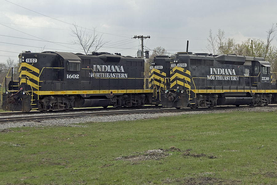IN Locomotives soon to be putting a train together in the Norfolk Southern yard at Montpelier, Ohio. (April, 2008)