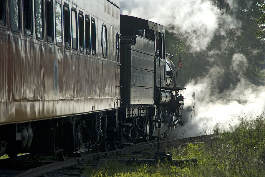 Little River Railroad's 110 backs out of Coldwater storage track. (June, 2007)