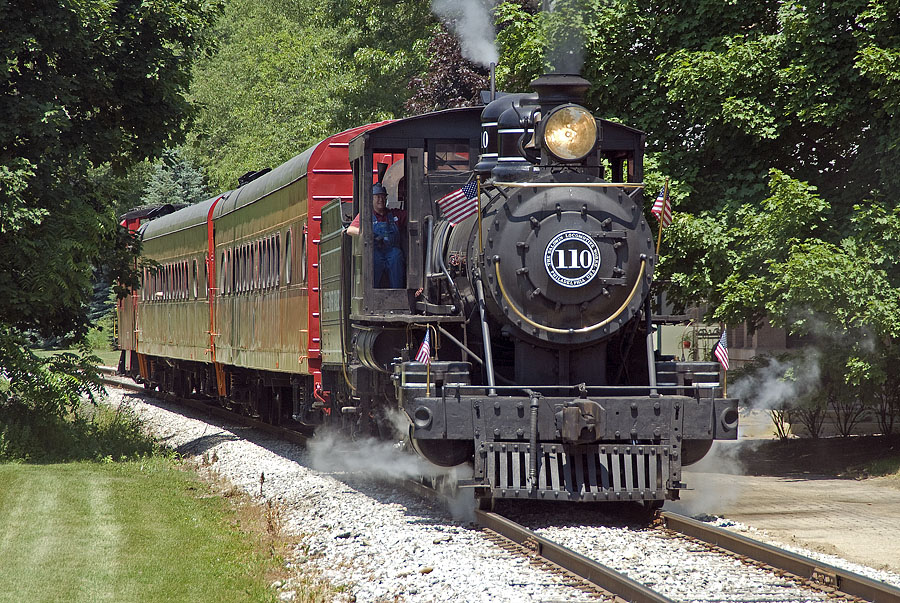 Little River Railroad 110 departs Jonesville with a special excursion for Hillsdale College alumni. (June, 2007)