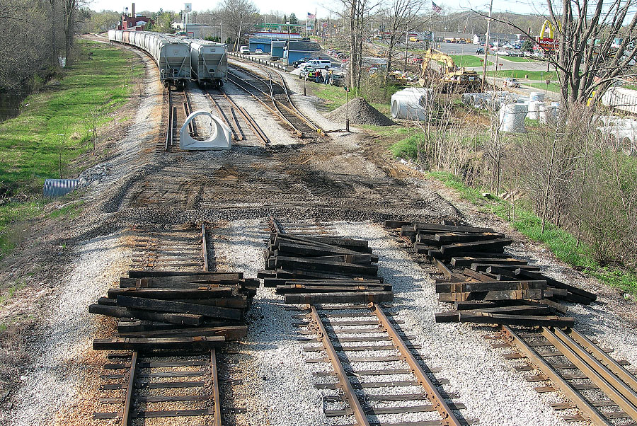 Track is removed prior to culvert replacement in Hillsdale's west yard. (April, 2006)