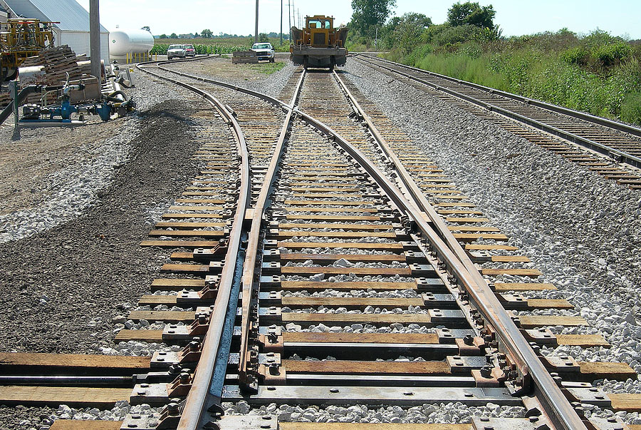 Spur track upgrade is part of new passing track project at Edon Farmers Co-Op. 2 of 2 photos. (August, 2006)